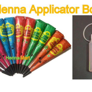 12 Colored Henna Cones + Applicator Bottle Mehendi Temporary Tattoo Henna DIY Paint