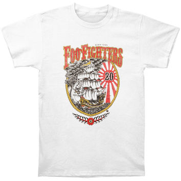 Foo Fighters Men's  20th Anniversary Ship Slim Fit T-shirt White Rockabilia