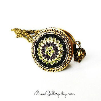 Black Filigree Locket-Antique Locket-Victorian Necklace-Micro Beads Jewelry-Black Necklace-Jewelry For Her-Photo Locket-Brass Locket-Boho