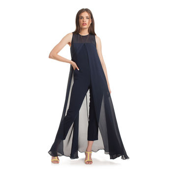 Fashion  Solid Color Round Neck Sleeveless Tight Romper Jumpsuit Trousers