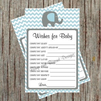 Baby Shower Game Instant Download Wishes for Baby Printable PDF Dear Baby Elephant Baby Blue Grey Chevron Boy Baby Shower Advice Game - 014