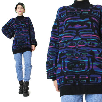 1980s Tribal Sweater Vintage Abstract Sweater Womens Wool Ski Sweater Mock Neck Jumper Black Purple Striped Sweater Winter Knitwear (M)