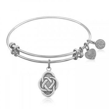 ac NOVQ2A Expandable Bangle in White Tone Brass with Celtic Oval Symbol