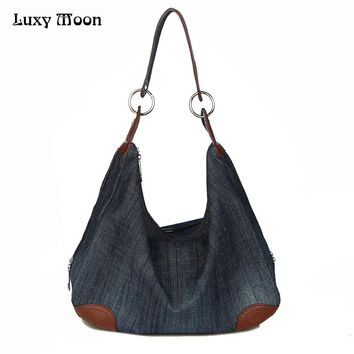 Luxy Denim Handbags Large Women Bag Big Hobo Purses Ladies Hand bags Jean Shopper Tote Luxury Designer Crossbody Messenger Bag