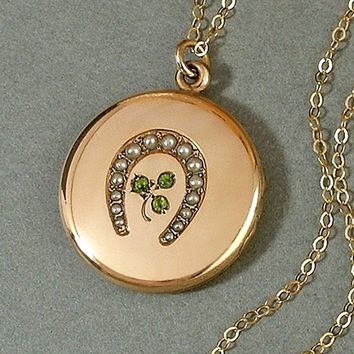 """ANTIQUE Victorian Seed Pearl LOCKET Horseshoe Shamrock Peridot Green Paste Gold Insert Frame 24"""" Long Chain c.1890s, Christmas Gift for Her"""