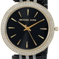 Michael Kors Black IP Darci Watch with Goldtone Accents