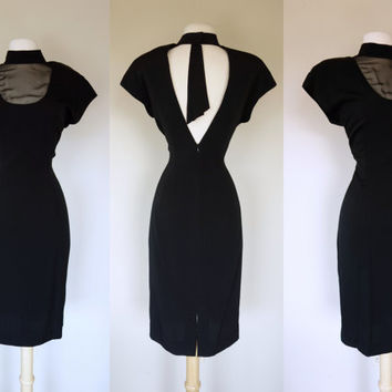1980s avant garde dress, 80s does 40s black wiggle dress w/ sheer bust and deep V back, high neck short sleeve cocktail formal dress, XL, 12