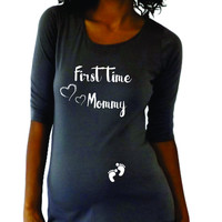 First time Mommy pregnancy announcement shirt. Cute maternity shirt.