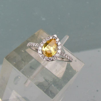 Yellow Sapphire Pear Shape Diamond Halo Engagement Ring September Birthstone Gemstone Jewelry