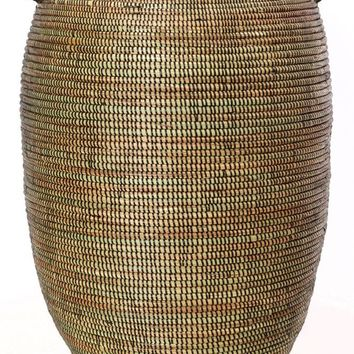 Senegalese Tall Black Bongo Clothes Hamper Basket