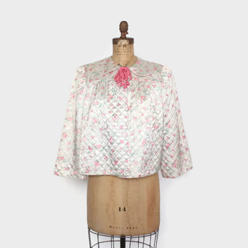 Vintage 40s BED JACKET / 1940s Floral Print Quilted Satin Cropped Coat L - XL