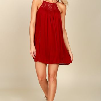 It Ain't Sew Crochet Dress Burgundy