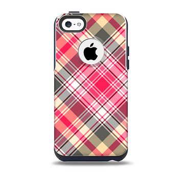 The Pink & Tan Plaid Layered Pattern V5 Skin for the iPhone 5c OtterBox Commuter Case