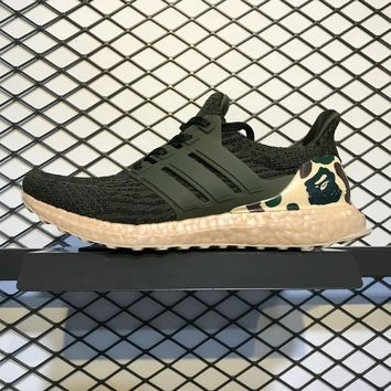 Sale Bape x Adidas Ultra Boost 3.0 Green Camo Sport Running Shoes