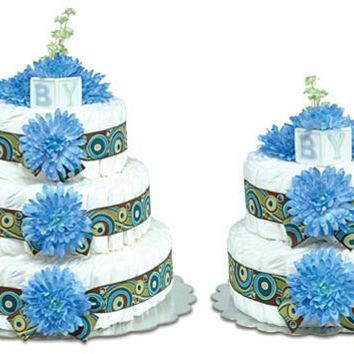 Bloomers Blue Mums with Swirls Baby Diaper Cake