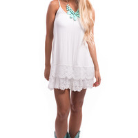 Off White Lace Bottom Detail Cami Dress