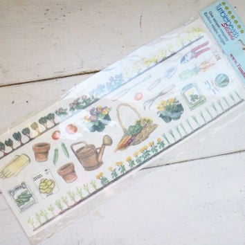 Scrapbook stickers, gardening theme, sticker set, sticker pack, unused stickers, scrapbooking ideas, scrapbook supplies, journaling supplies