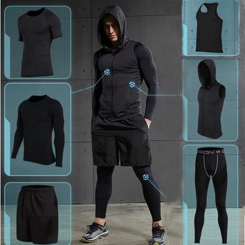 New Quick Dry Men's Running 6 Piece Set Fitness Sportswear