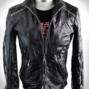 Men's Black Scar Stitch Heavy Calfskin Washed, Treated, and Waxed High Neck Biker Jacket