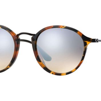 Ray Ban Round Fleck Sunglasses Spotted Black Havana with Grey Flash Mirror Gradient lenses RB2447 11579U
