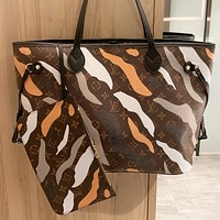LV Louis Vuitton New fashion monogram print leather shopping leisure shoulder bag handbag two piece suit
