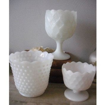 trio of vintage Milk Glass vases  pedestal and by MamaLisasCottage