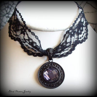TILDA Gothic Victorian Noir Black -Tanzanite Purple Round Glass Jewel - Lace Ribbon Choker by Blood Flowers Jewelry