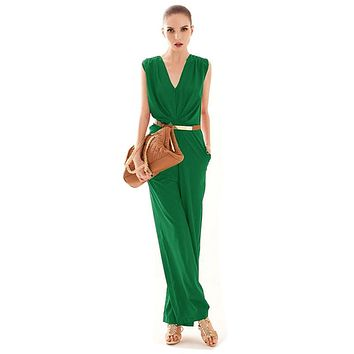 Feitong Fashion Women Sleeveless Maxi Overalls Belted Wide Leg Jumpsuit Plus Size macacao long pant Elegant Jumpsuits macacao