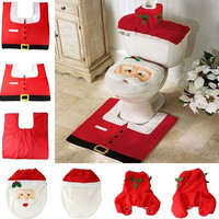 1 Set/3pc Fancy Happy Santa Toilet Seat Cover Rug Bathroom Set Decoration Rug Christmas Xmas Natal Navidad Decoration