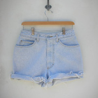 30 Waist Vintage 5 Pocket High Waist Cutoff Shorts.. light wash......destroyed, frayed. 80's high waist shorts.. .by Shop Paris   4602