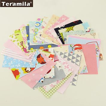 Teramila Cotton Fabrics 30 Pieces10cmx10cm Twill Charm Packs Patchwork Fabrics Quilting No Repeat Design Tissue Textile Cloth