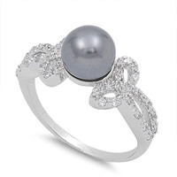925 Sterling Silver CZ Infinity Black Cultured Pearl Ring