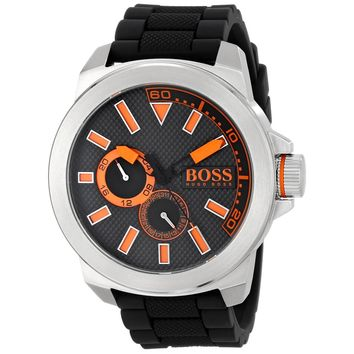Hugo Boss 1513011 Men's Boss Orange New York Black Dial Black Silicone Strap Watch