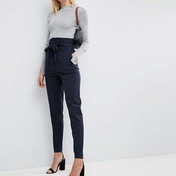 ASOS TALL Tailored High Waist Tapered PANTS with Tie Waist at asos.com