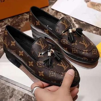 LV Louis Vuitton Women Fashion Casual Low Heeled Shoes