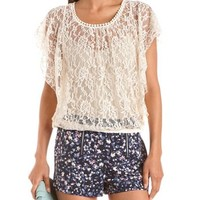 Flutter Sleeve Crochet Lace Top: Charlotte Russe