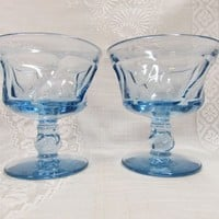 Fostoria Jamestown Blue Sherbets | Set of 2 Heavy Blue Glass Desserts Champagnes Tall Sherbets