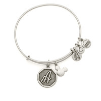 Mickey Mouse Icon and Initial Bangle by Alex and Ani - Silver