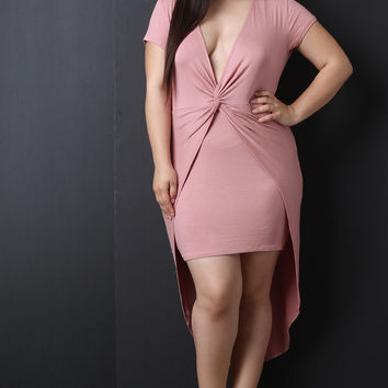 Plus Size Knotted Plunging High Low Dress | UrbanOG