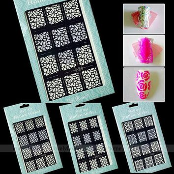 CREYHY3 New Arrival 2 Way Stamping Tool Nail Art Template Stickers Stamp Stencil Guide Multiple Function Tips