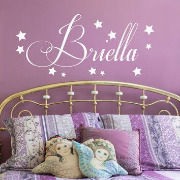 Starry Name Wall Decal - by Decor Design Decal, star decal set, confetti stars, baby nursery wall decor, star decals, wall decal, Girls Name Decals- Girls Name AU9