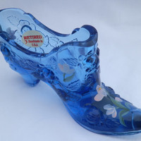 Fenton Glass Shoe Blue Rose Hand Painted by Marilyn Wagner