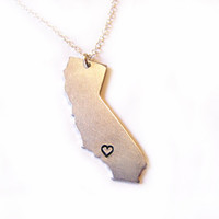 On Sale - Hand Stamped Heart California State Sterling Silver Necklace / Gift for Her