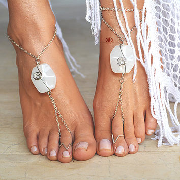 "Women Barefoot Wedding Sandals ""White Ocean Shell"""
