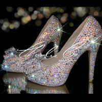 "CHARLIE CO. AB Bow Crystal Strass Peep Toe 4.5"" High Heels Bridal Wedding Prom Evening Sparkly Occasion Swarovski Jewel Bows"