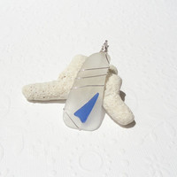 White and Cobalt Blue Wire Wrapped Sea Glass Pendant Necklace