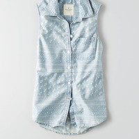 AEO Print Chambray Sleeveless Shirt, Light Wash