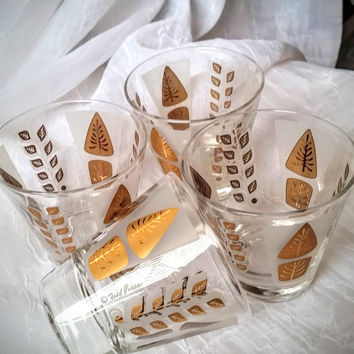 Fred Press MCM Bar Glasses, Gold Leaves, Frosted White, Vintage Barware, Retro Whiskey or Juice