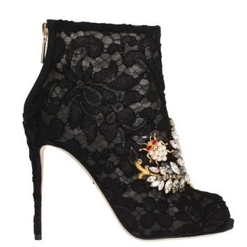 Dolce & Gabbana Black Crystal Lace Booties Stilettos Shoes
