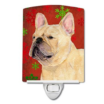 French Bulldog Red and Green Snowflakes Holiday Christmas Ceramic Night Light SS4692CNL